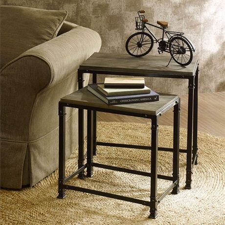 This reclaimed gray set of two accent nesting tables has just the right amount of rustic appeal for any rooms décor.