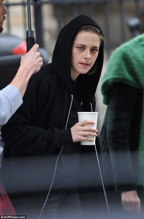 Bare-faced: The Twilight star was casually dressed and went make-up free for the day's fil...