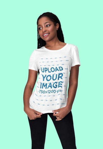 Download Placeit Mockup Of A Young Woman Wearing A Customizable T Shirt At A Studio Clothing Mockup Shirt Mockup Mockup Design