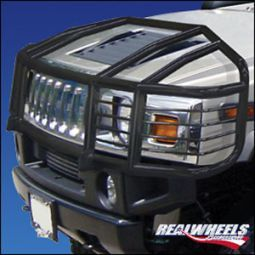 Real Wheels Hummer H2 Sut Black Powder Coated Over The Hood Wrap Around Brush Guard With Inserts Hummer Parts Hummer H2 Accessories Hummer H2
