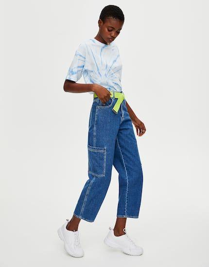 Jeans carpenter tiro alto PULL&BEAR | Ropa, Jeans, Modelos