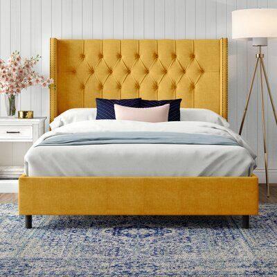 Alexandra Upholstered Standard Bed Size Queen Color Linen French Yellow In 2021 King Upholstered Bed Bed Frame And Headboard Yellow Headboard