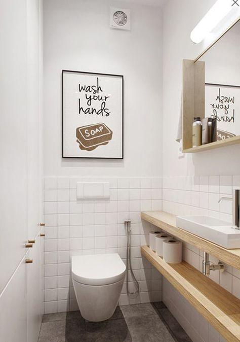 Cómo decorar habitaciones estrechas y alargadas: baño pequeño