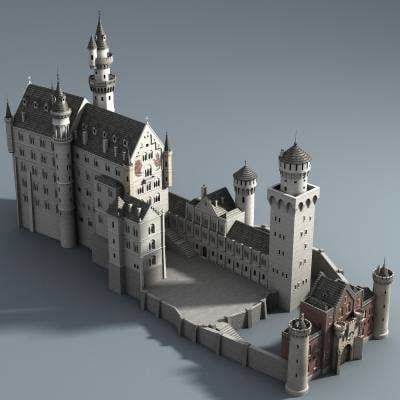Castle Neuschwanstein 3d Model Model Castle Neuschwanstein Castle Fantasy Castle