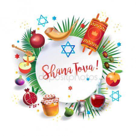Happy Rosh Hashanah Hebrew Text Shana Tova Jewish New Year Holiday Symbols Greeting Card Torah In 2020 Happy Rosh Hashanah Holiday Symbols Rosh Hashanah Greetings