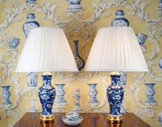 Blue lamps with wallpaper behind - gorgeous