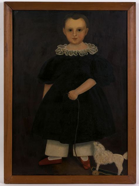 "American School(19th c.), oil on canvas folk portrait of a young child with pull toy, 27"" x 26""."