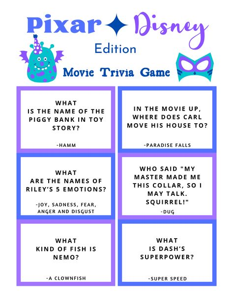 Disney Quiz Questions, Trivia Questions For Kids, Disney Diy, Disney Crafts, Disney Pixar, Disney Printables, Family Fun Night, Movie Facts, Pokemon