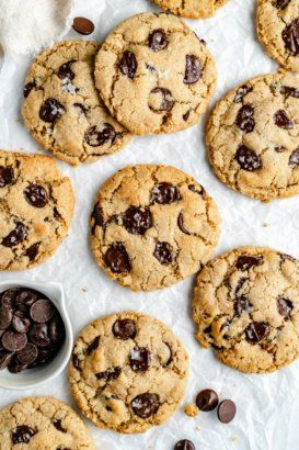 The best vegan chocolate chip cookies made in one bowl with a mix of almond flour and oat flour to keep them gluten free! These easy vegan chocolate chip cookies are deliciously chewy with crispy edges and tender middles. You truly won't need another vegan chocolate chip cookie recipe after this one! #cookies #vegandessert #glutenfreedessert #vegancookies #chocolatechipcookies #glutenfreecookies