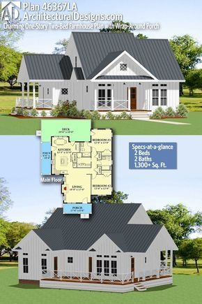 Plan 46367la Charming One Story Two Bed Farmhouse Plan With Wrap Around Porch Small Farmhouse Plans Farmhouse Plans Farmhouse Floor Plans
