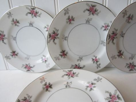 Vintage Japan China Rosemere Pink Gray Floral by thechinagirl