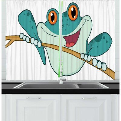 East Urban Home 2 Piece Frogs Cartoon Amphibian Animal Holding On A Branch Smiling Nursery Graphic Kitchen Curtain Set Wayfair Amphibian Animal Branch Car