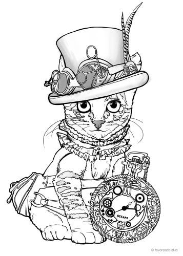 Pin By Connie Coloring Pages On Coloring Pages Steampunk Coloring Steampunk Cat Steampunk Images
