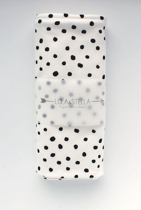 Bio-Baby-Decke in schwarz und weiß Polkadot, organische Krippe Decke, organische Wickeltisch Decke, Bio-Baby-Decke, Babydecke, Wickelbrett