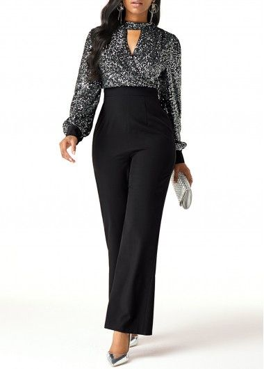 Women'S Black Sequin Mock Neck Formal Jumpsuit Cutout Front Wide Leg High Waisted Work Jumpsuit ,Jumpsuits and rompers