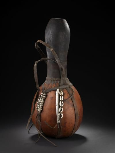 *Gourd Art  - African Gourd Milk Pot.  (The lid serves as a drinking cup.)