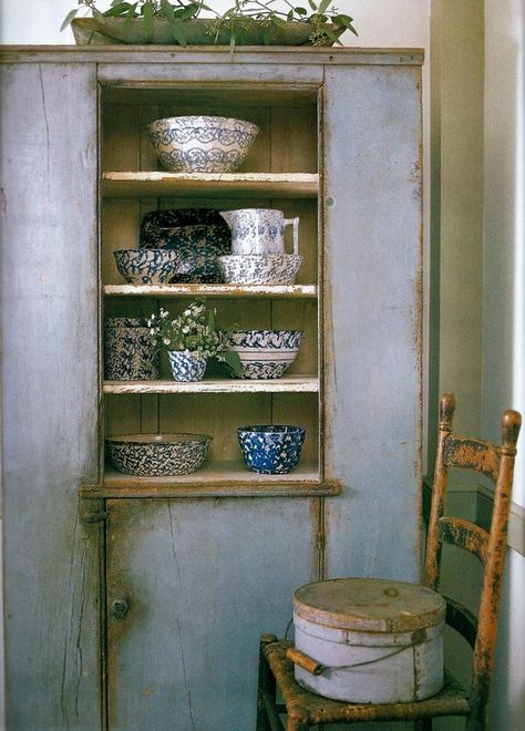 Primitive blue cupboard, spongeware