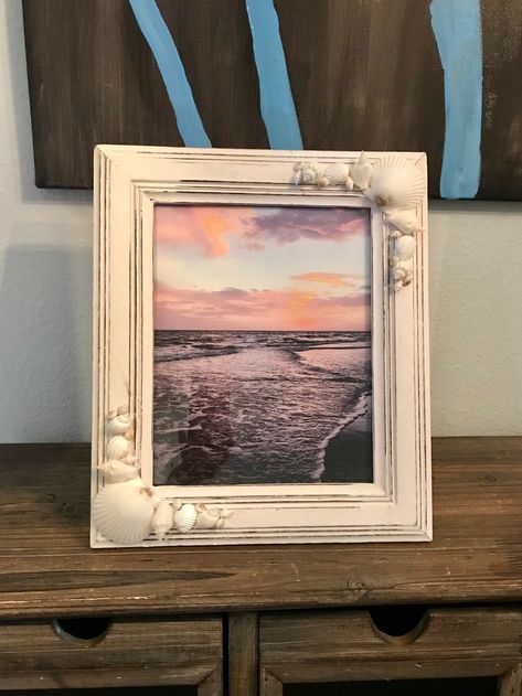Excited to share the latest addition to my #etsy shop: Beach Frame, Shell Frame, Picture Frame, 8x10 #white #wedding #wood #yes #coastaltropical #8x10 #pictureframe #8x10fram