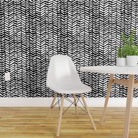 Peel And Stick Removable Wallpaper Herringbone Black And White Chevron Geo Walmart Com Removable Wallpaper Black And White Wallpaper Chevron Wallpaper