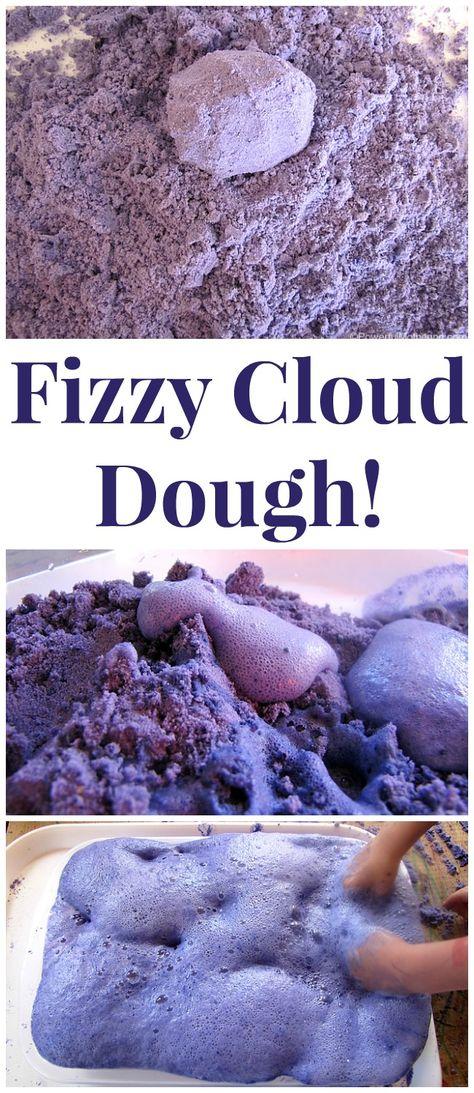 Rainbow party activity ideas--Make Fizzy Cloud Dough!