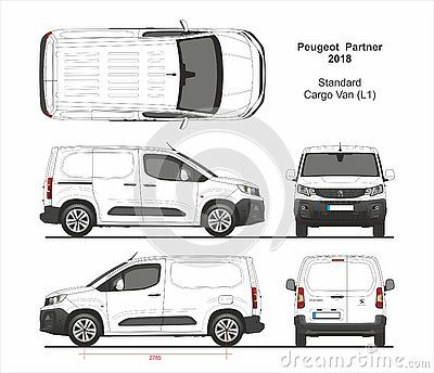 Peugeot Partner Cargo Delivery Standard Van L1 Swing Rear Doors Black Bampers 2018 Present Detailed Template For Design A Peugeot Cargo Van Citroen Berlingo