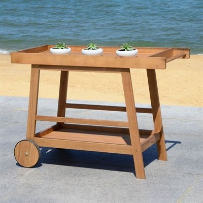 Safavieh Kitchen Islands Cart Pat7032 Renzo Indoor Outdoor Bar Cart Backyardbar Outdoor Wood Bar Wood Bar Cart Bar Cart Decor