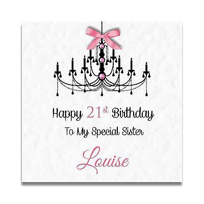 Handmade Personalised Ladies Girls Daughter 11th 12th 13th 14th – Sister 21st Birthday Card