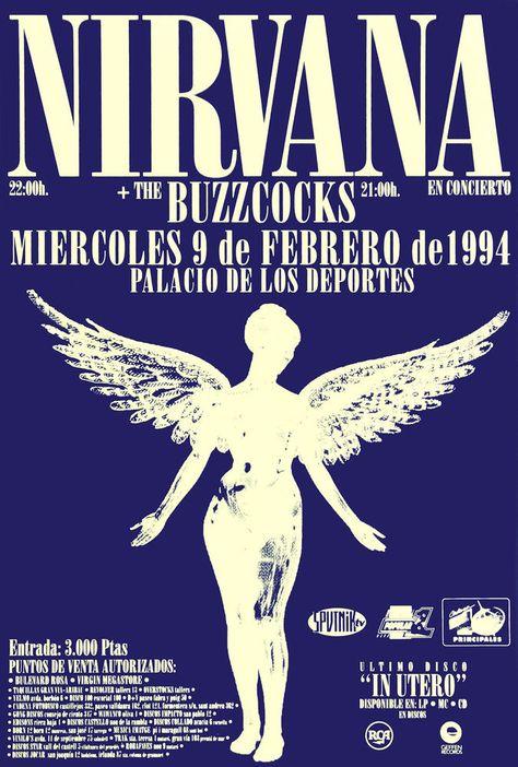 Nirvana 1994 In Utero concert poster at Palicio De Los Deportes, Spain  | eBay