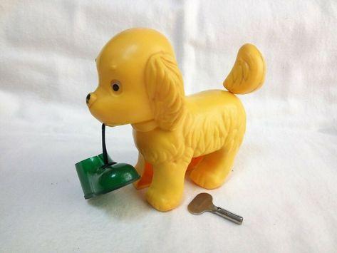 Vintage Soviet children's plastic wind up toy puppy dog with