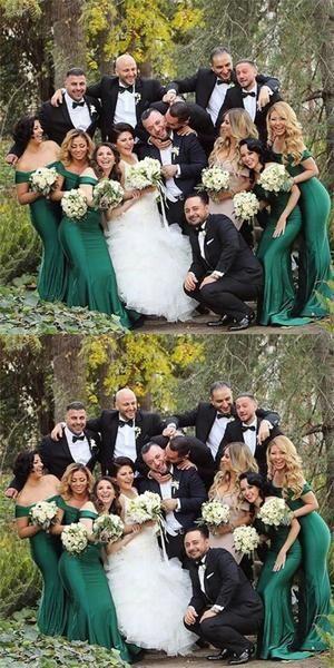 Wedding Pics Mermaid Off-Shoulder Long Cheap Green Satin Bridesmaid Dresses Online,