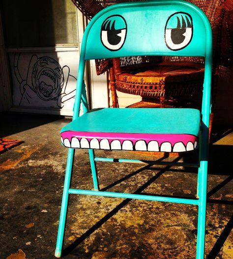"""Handpainted """"Chairy"""" antique metal folding chair Pee Wee Herman."""