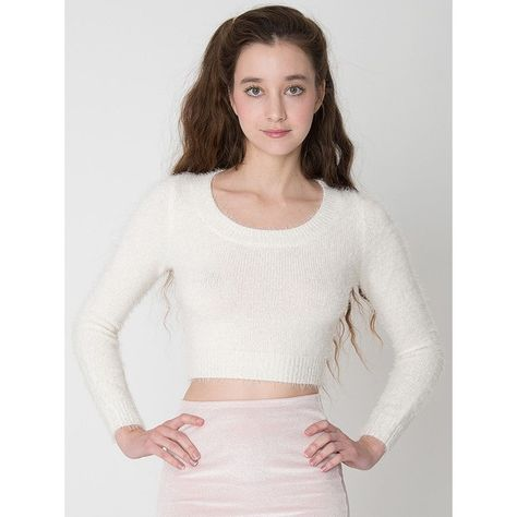 7ac42a2357a American Apparel Fuzzy Cropped Sweater ($65) ❤ liked on Polyvore featuring  tops, sweaters, white fuzzy sweater, crop top, fuzzy cropped sweater, ...