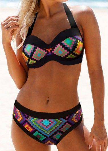 Tie Back Geometric Print Padded Bikini Set, shop the sexy bikini swimsuit at Liligal now!