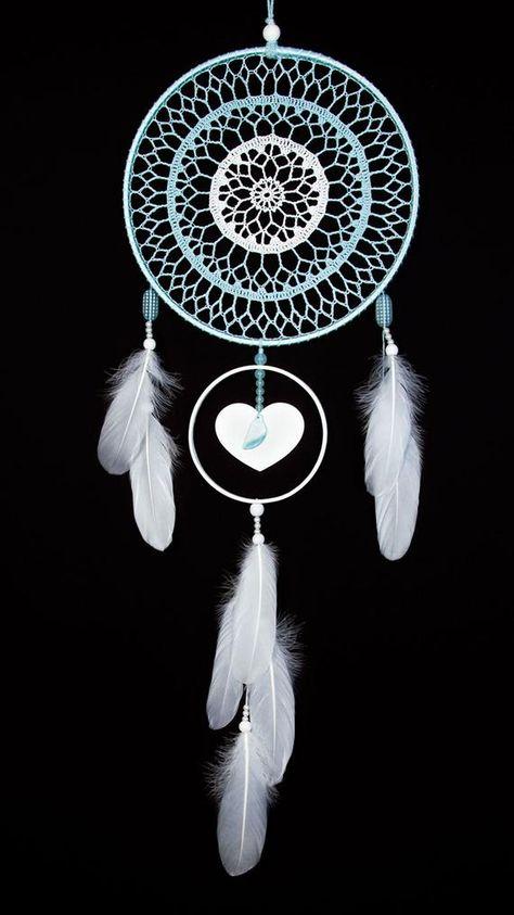 Large Blue White Dream Catcher Handmade Crochet Doily image 1