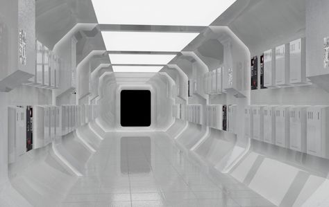 Futuristic Spaceship interior, Shapes and patterns on walls ideal for showcase Pod
