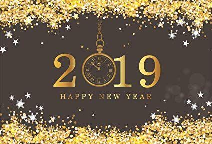 Amazon Com Laeacco Happy New Year 2019 Backdrop Vinyl 7x5ft Golden Happy New Year Greetings Happy New Year Banner Happy New Year Images