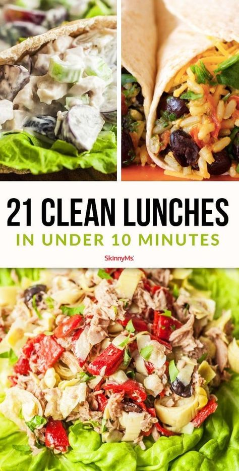 Looking for ways to eat clean all day long? These are 21 clean lunches that can be prepared in under 10 minutes and are great options for packing lunch for school or work. # clean eating lunch 21 Clean Lunches In Under 10 Minutes Clean Eating Recipes For Dinner, Clean Eating Breakfast, Clean Eating Meal Plan, Clean Eating Snacks, Lunch Recipes, Healthy Dinner Recipes, Healthy Cold Lunches, Easy Clean Eating Recipes, Eat Clean Lunches