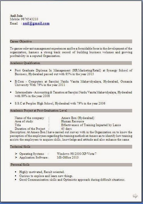Download Resume Templates For Mba Hr Freshers Addictips