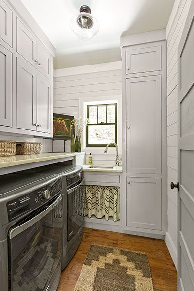 Just Off The Mudroom Floor To Ceiling Cabinets In Laundry Room Keep Things Tidy A Moen Sink And Faucet Serve As Hand Washing Laundering
