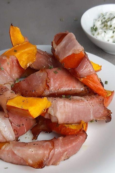 #dinnerrecipes Lowcarb Ofenkürbis mit Bacon und Frischkäse-Kräuter-Dip