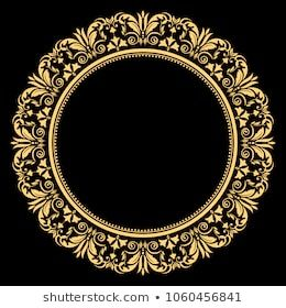 Vintage Round Frame Retro Style Barroco Stock Vector Royalty Free 1060456841 In 2020 Gold Picture Frames Floral Border Design Baroque Frames