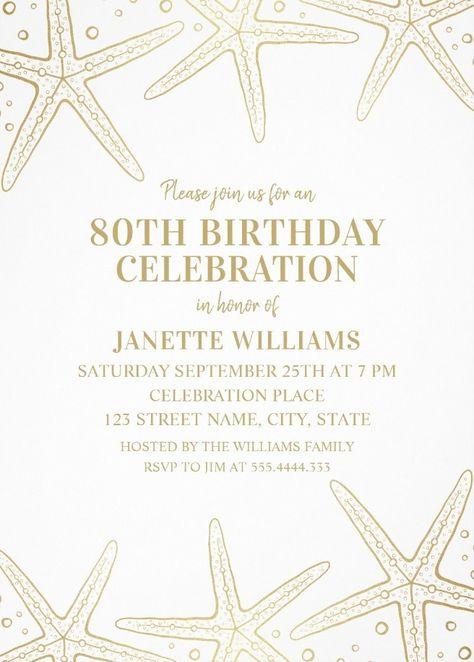 Nautical Adult 80th Birthday Invitations