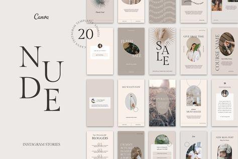 NUDE Instagram Stories Templates (1332712) | Instagram | Design Bundles