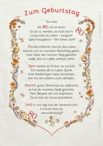 Verse reime zum 65 geburtstag