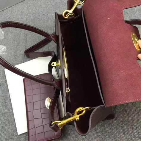 b56c62598191 2016 A W Mulberry Small New Bayswater Oxblood Polished Embossed Croc   HH3936-Oxblood  - £182.00   Mulberry Outlet UK Team