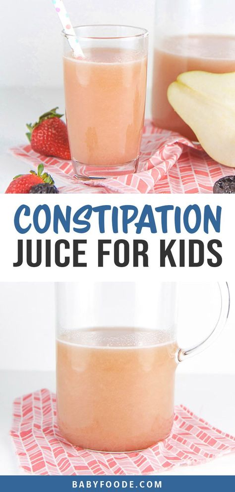 This homemade constipation juice is the perfect natural constipation remedy for both toddlers and older kids alike - no juicer required! This healthy juice is made in the blender with fresh pears, strawberries, prunes and a touch of honey. It's a homemade remedy that really works and that your kids will love to drink! #kids #toddlers #constipation #juice