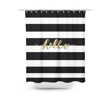 Black And Gold Shower Curtain Striped Shower Curtain Black Shower Curtains Black And Gold Bathroom Bathroom Decor