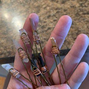 quartz hair pin raw crystal hair clip wedding hair accessory quartz bobby pin Set of 2 bridal hair pin gift for her Crystal hair pin