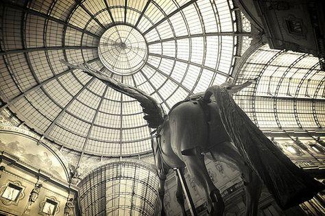 Il sottocoda del cavallo della nota Maison francese ci riceve in Galleria Vittorio Emanuele II° a Milano. Povero Re, e povero anche il cavallo.