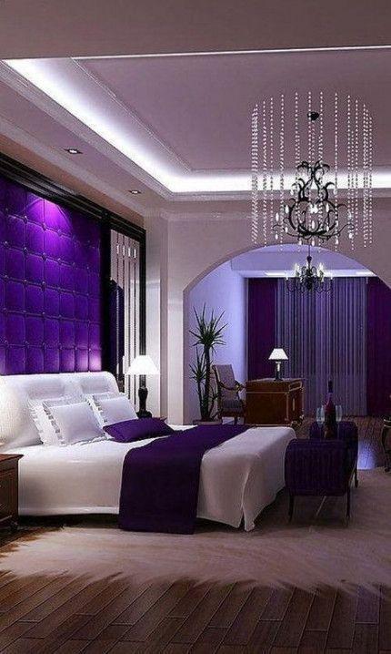 تصاميم عصرية لغرف نوم راقية وفخمة 2019 Fancy Master Bedroom Design Ideas Bedroom De Living Room Decor Apartment Luxury Bedroom Master Living Room Decor Purple